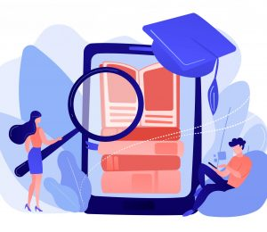 Students with magnifier reading stack of e-books in smartphone education app. Mobile learning, learning application, m-learning education concept. Pinkish coral bluevector isolated illustration